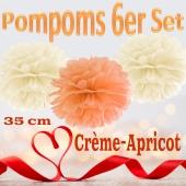 Pompoms in Crème und Apricot, 35 cm, 6er Set