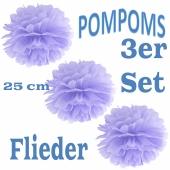 Pompoms Flieder, 25 cm, 3 Stück
