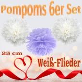 Pompoms in Flieder und Weiß, 25 cm, 6er Set
