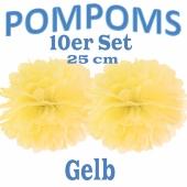 Pompoms Gelb, 25 cm, 10 Stück