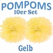 Pompoms Gelb, 10 Stück