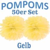 Pompoms Gelb, 50 Stück