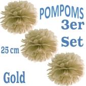 Pompoms Gold, 25 cm, 3 Stück