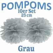Pompoms Grau, 25 cm, 10 Stück