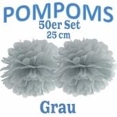 Pompoms Grau, 25 cm, 50 Stück