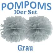 Pompoms Grau, 10 Stück