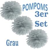 Pompoms Grau, 3 Stück