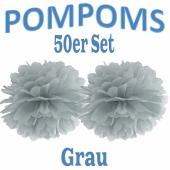 Pompoms Grau, 35 cm, 50 Stück