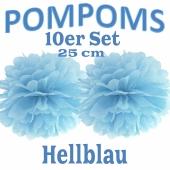 Pompoms Hellblau, 25 cm, 10 Stück