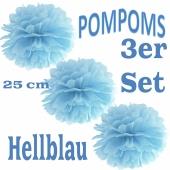 Pompoms Hellblau, 25 cm, 3 Stück