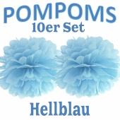 Pompoms Hellblau, 10 Stück