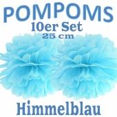 Pompoms Himmelblau, 25 cm, 10 Stück