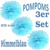 Pompoms Himmelblau, 25 cm, 3 Stück
