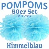 Pompoms Himmelblau, 25 cm, 50 Stück