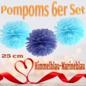 Pompoms in Himmelblau und Marineblau, 25 cm, 6er Set