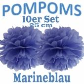 Pompoms Marineblau, 25 cm, 10 Stück