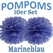 Pompoms Marineblau, 10 Stück