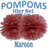 Pompoms Maroon, 25 cm, 10 Stück