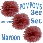 Pompoms Maroon, 25 cm, 3 Stück