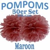 Pompoms Maroon, 25 cm, 50 Stück