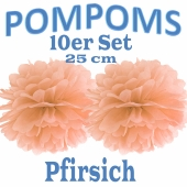 Pompoms Pfirsich, 25 cm, 10 Stück