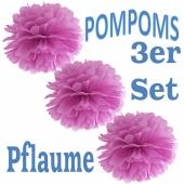 Pompoms Pflaume, 3 Stück