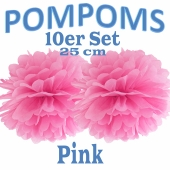 Pompoms Pink, 25 cm, 10 Stück