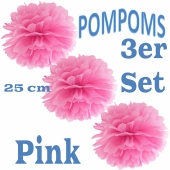 Pompoms Pink, 25 cm, 3 Stück