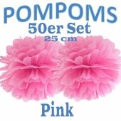 Pompoms Pink, 25 cm, 50 Stück