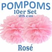 Pompoms Rosé, 25 cm, 10 Stück