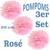 Pompoms Rosé, 25 cm, 3 Stück