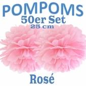 Pompoms Rosé, 25 cm, 50 Stück