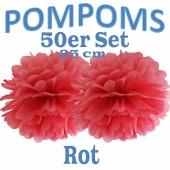 Pompoms Rot, 25 cm, 50 Stück