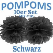 Pompoms Schwarz, 25 cm, 10 Stück