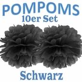 Pompoms Schwarz, 10 Stück