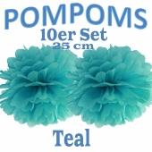 Pompoms Teal, 25 cm, 10 Stück
