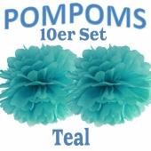 Pompoms Teal, 10 Stück