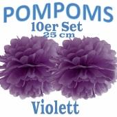 Pompoms Violett, 25 cm, 10 Stück