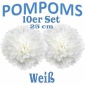 Pompoms Weiss, 25 cm, 10 Stück