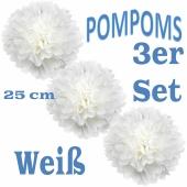 Pompoms Weiss, 25 cm, 3 Stück