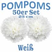 Pompoms Weiss, 25 cm, 50 Stück