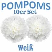 Pompoms Weiss, 10 Stück