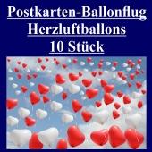 Postkarten, Ballonflugkarten Hochzeit Herzluftballons, 10 Stück
