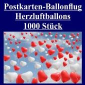 Postkarten, Ballonflugkarten Hochzeit Herzluftballons, 1000 Stück