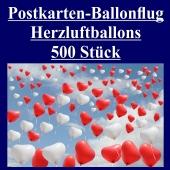 Postkarten, Ballonflugkarten Hochzeit Herzluftballons, 500 Stück