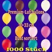 Premium-Qualität Luftballons, 30 - 33 cm, bunt sortiert, 1000 Stück