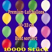 Premium-Qualität Luftballons, 30 - 33 cm, bunt sortiert, 10000 Stück