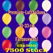 Luftballons 30-33 cm, Premium-Qualität, Farbauswahl, 7500 Stück, 15 x 500