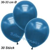 Premium Metallic Luftballons, Blau, 30-33 cm, 30 Stück