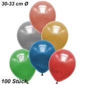 Premium Metallic Luftballons, Bunt gemischt, 30-33 cm, 100 Stück
